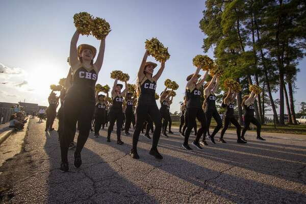 The Conroe High School Golden Girls perform during the Conroe High School homecoming parade Wednesday, October 2, 2019 near Moorehead Stadium in Conroe. Conroe High School's homecoming game aganst Klein High School is scheduled for 7 p.m. Friday at Moorehead Stadium.
