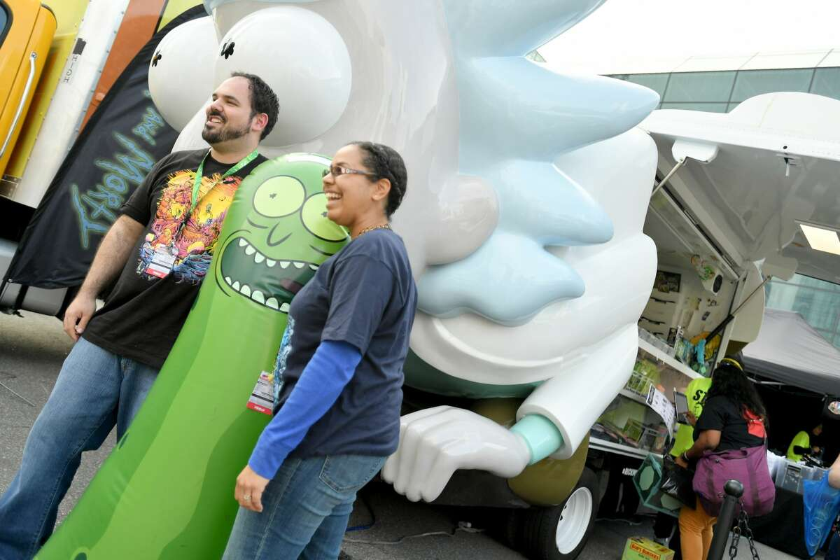 A view of the Rickmobile during New York Comic Con 2018 at Jacob Javits Center on October 5, 2018, in New York City.