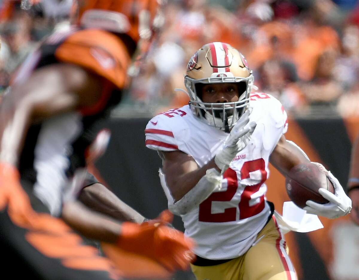 Matt Breida #22 of the San Francisco 49ers runs the ball during the third quarter of the game against the Cincinnati Bengals at Paul Brown Stadium on September 15, 2019 in Cincinnati, Ohio.