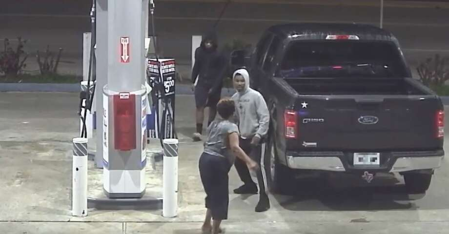 Houston police are searching for two men they said attacked a woman at a north Houston gas station and stole her truck. Photo: Houston Police Department