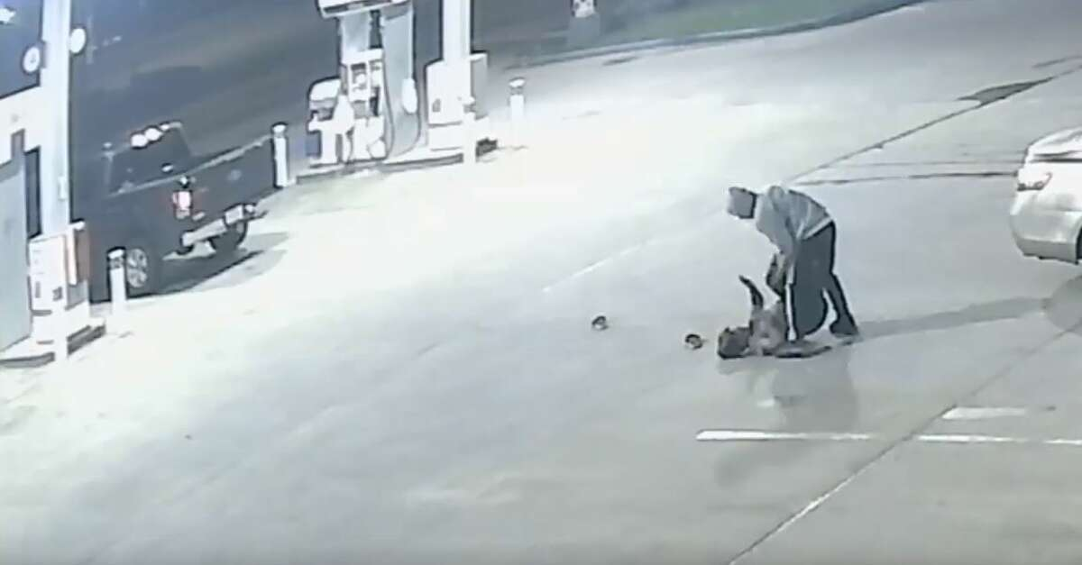 Houston police are searching for two men they said attacked a woman at a north Houston gas station and stole her truck.