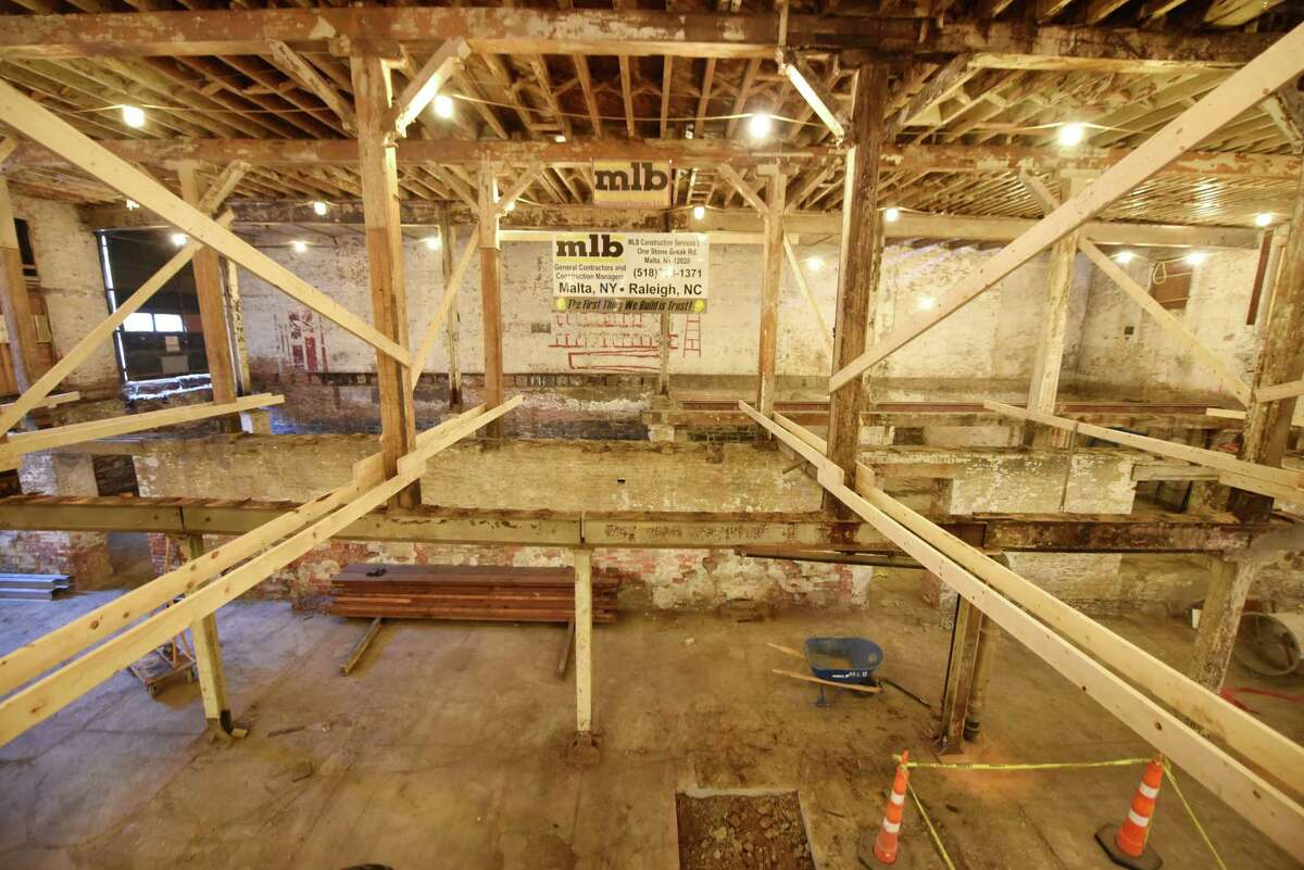 View of the first and basement floors at Capital Repertory Theatre's new location on Thursday, Oct. 3, 2019, on North Pearl Street in Albany, N.Y. The $13.5 million project is expected to be completed next year. (Will Waldron/Times Union)