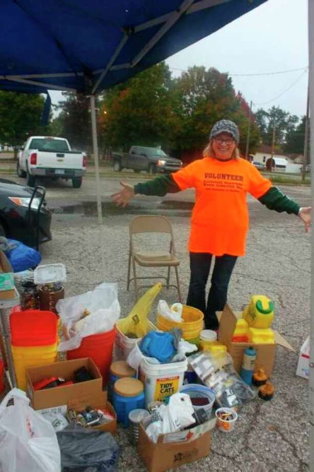 Featured are some of the products disposed of during a past Hazardous Waste Collection event. Mecosta County Conservation District district administrator Charmaine Lucas said this will be the 16th time this collection has taken place, and that it is well-received every year. (Pioneer file photo)