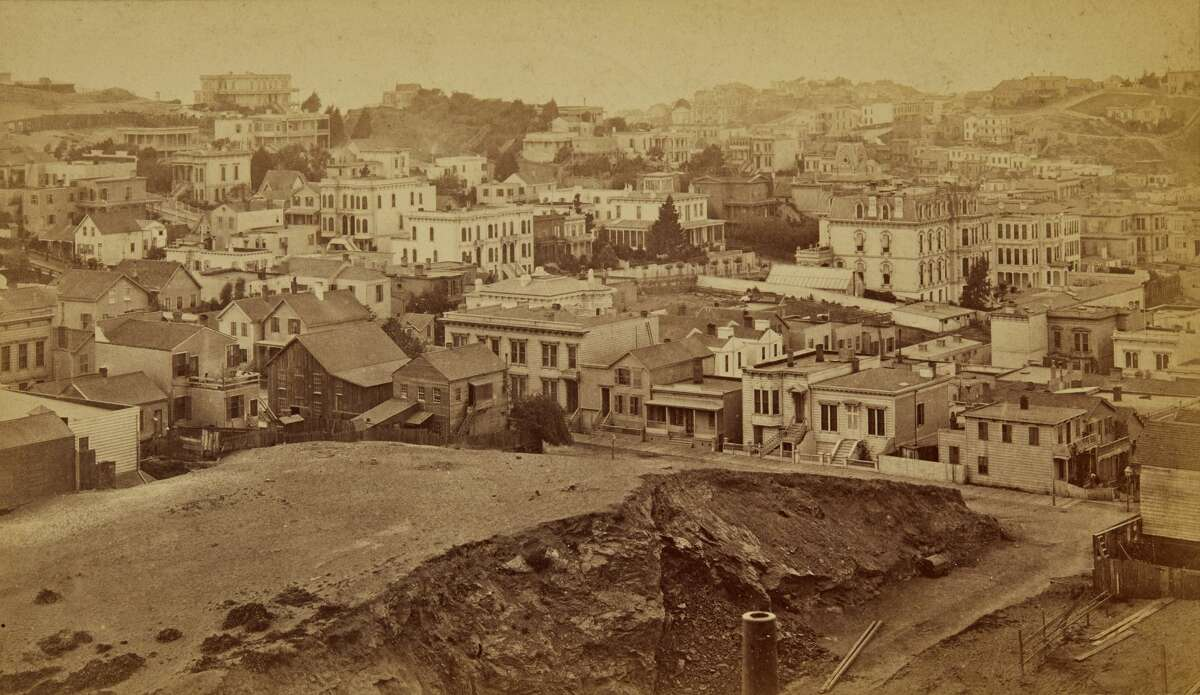 A rare 1877 11 albumen print panorama, each mounted on card, by Eadweard Muybridge sold at auction with Bonhams in New York in October 2019. Each card is with printed Muybridge/ Morse's Gallery copyright credit and title on the mount. Muybridge took the photos from a vantage point on the central tower of the unfinished Nob Hill residence of railroad baron Mark Hopkins, which was the highest point in the developed portion of the city at the time.