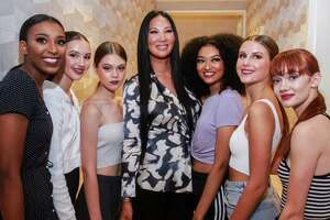 Kimora Lee Simmons, center, with models at the Fashion for Passion event at Neiman Marcus benefitting the fashion program at Houston Community College. October 2, 2019.