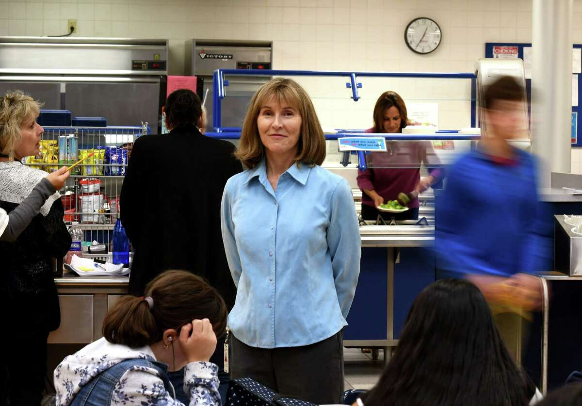 Margaret Sullivan, food services director at Saratoga Springs High School, is pictured in the school cafeteria on Thursday, Oct. 3, 2019, in Saratoga Springs, N.Y. The school offers daily vegan meal options for its students. (Will Waldron/Times Union)