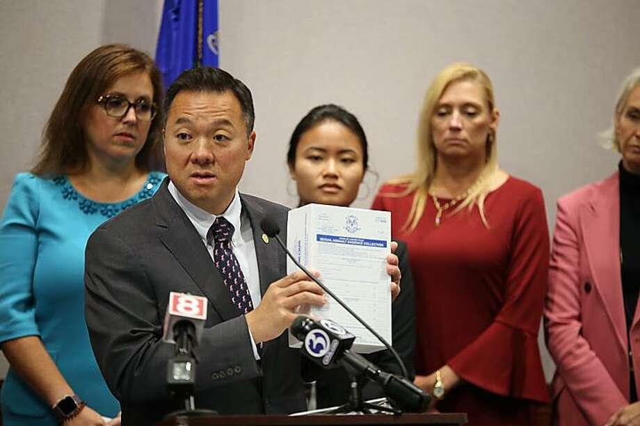 Attorney General William Tong holds up Connecticut's rape kit. Photo: Christine Stuart / CTNewsJunkie.com
