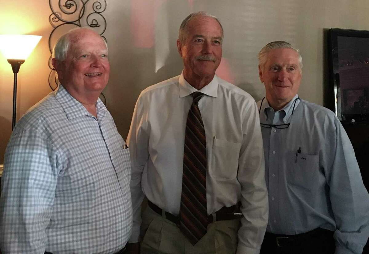 Among attendees at the recent Katy Business Association meeting were three men who have or or serving as mayor of Katy. From left are Don Elder Jr., who served as mayor from 2007-13; current Mayor Bill Hastings; and Skip Conner, who served as mayor from 1991-95.