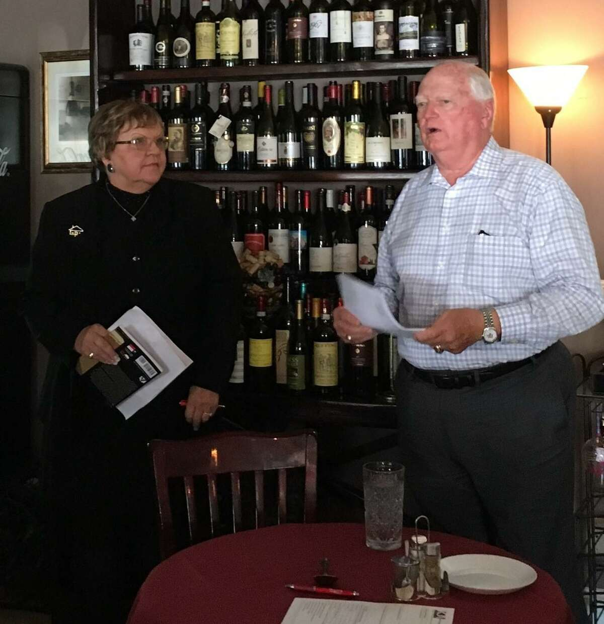 Don Elder Jr., second vice chair of the Metropolitan Transit Authority board of directors, spoke about Metro's $3.5 billion bond on the Nov. 5 ballot to members of the Katy Business Association. At left is Clara Jean Machann, KBA president.