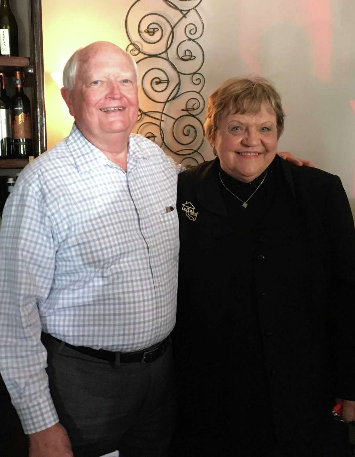 Don Elder Jr., second vice chair of the Metropolitan Transit Authority board of directors, and Clara Jean Machann, president of the Katy Business Association, pose for a photo after a recent KBA meeting. Elder spoke to the business group about Metro's $3.5 billion bond proposal on the Nov. 5 ballot.