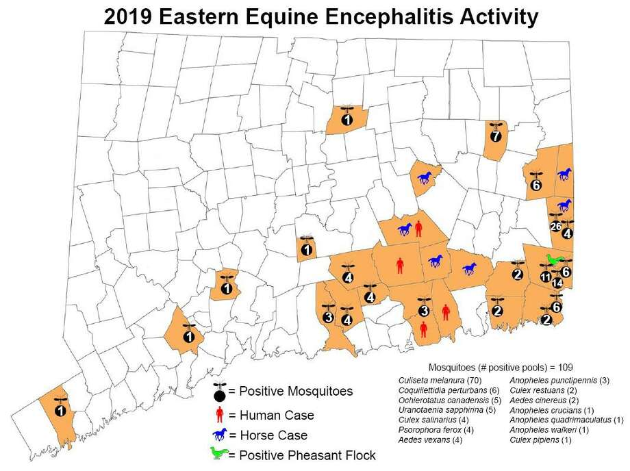 A map of Eastern Equine Encephalitis activity in the state in 2019. Photo: Connecticut Agricultural Experiment Station / Contributed