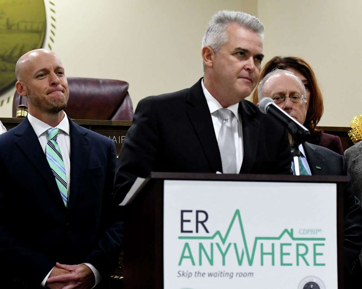 Rensselaer County Executive Steve McLaughlin speaks during a press conference to announce a new partnership with Rensselaer County and United Concierge Medicine to provide CDPHP Medicaid members with an alternative service to the emergency room on Thursday, Oct. 3, 2019, at the Rensselaer County office building in Troy, N.Y. ER Anywhere is a virtual healthcare app powered by United Concierge Medicine which allows patients to connect with emergency medical providers 24/7 for consultation and advice. (Will Waldron/Times Union)