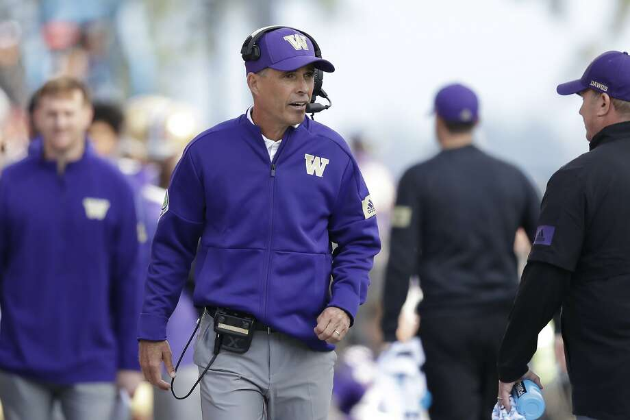 Washington head coach Chris Petersen looks on from the sidelines during an NCAA college football game against Southern Cal Saturday, Sept. 28, 2019, in Seattle. Washington won 28-14. (AP Photo/Elaine Thompson) Photo: Elaine Thompson / Associated Press
