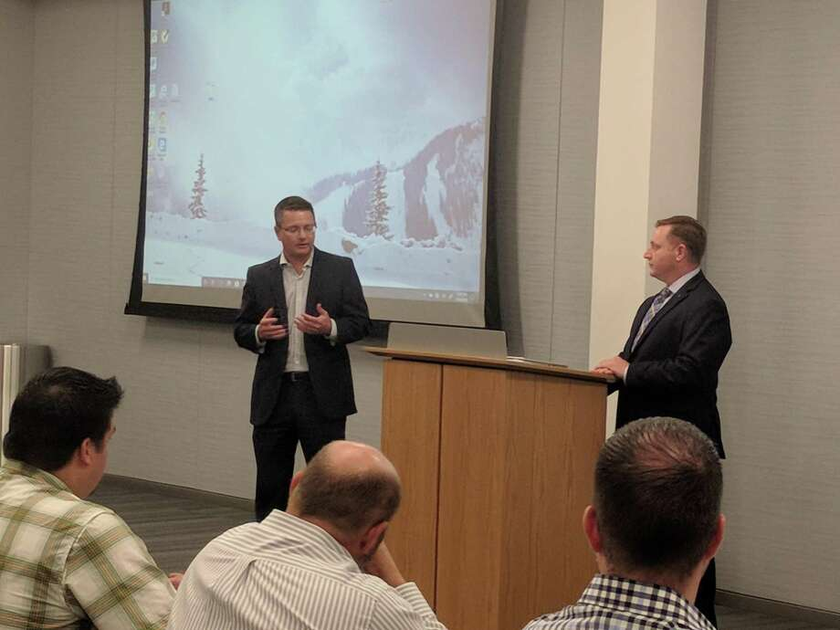 Harris County Precinct 4 Commissioner Jack Cagle Staff Members Jack Morman and David Riddle spoke to the North Houston Association about mobility funding for the precinct and how it's changing. Photo: Paul Wedding