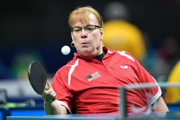 Pam Fontaine, seen here at the Rio 2016 Paralympic Games, will be in Houston on Oct. 12 teaching table tennis to a group of young players — and scouting talent — at the Gateway to Gold event at The Zone.