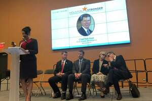 At the Houston Stronger forum on Wednesday, Oct. 2, state, local and federal officials, including Laura Murillo, Ph.D., Houston Hispanic Chamber of Commerce president and CEO (from left);Nim Kidd, Texas Division of Emergency Managementchief; Russ Poppe, Harris County Flood Control District executive director; Sheri Willey, deputy branch chief at the U.S. Army Corps of Engineers Galveston District; and Steve Costello, city of Houston chief recovery officer, speak about current and future flood mitigation efforts.