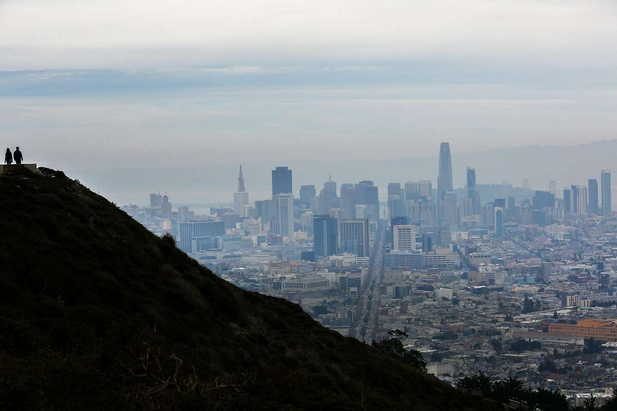 On top of Twin Peaks, with a view of San Francisco.