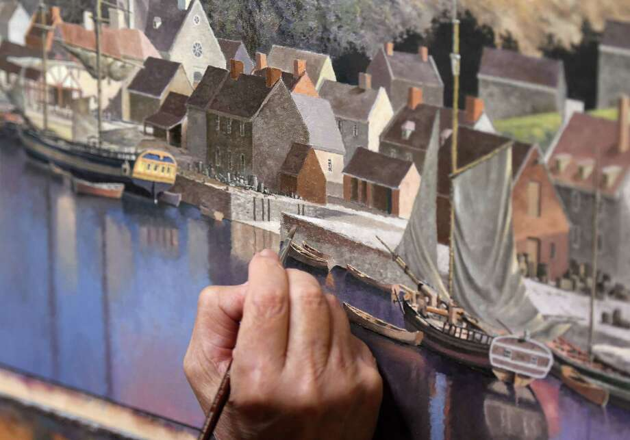 Artist Len Tantillo works on a painting of Quebec from1685 on Wednesday, Sept. 4, 2019, at his studio in Nassau, N.Y. (Will Waldron/Times Union) Photo: Will Waldron / 40047719A