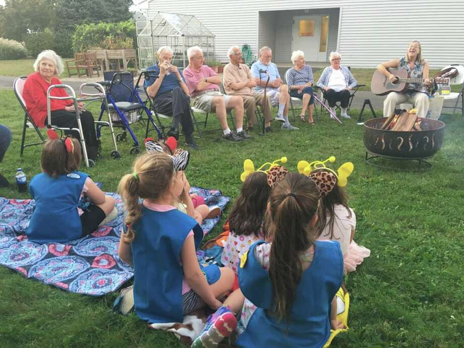 Marion Elio, a resident at Crosby Commons, recently had a dream come true when she was surprised with a special camp out. Photo: Contributed Photo / / Connecticut Post