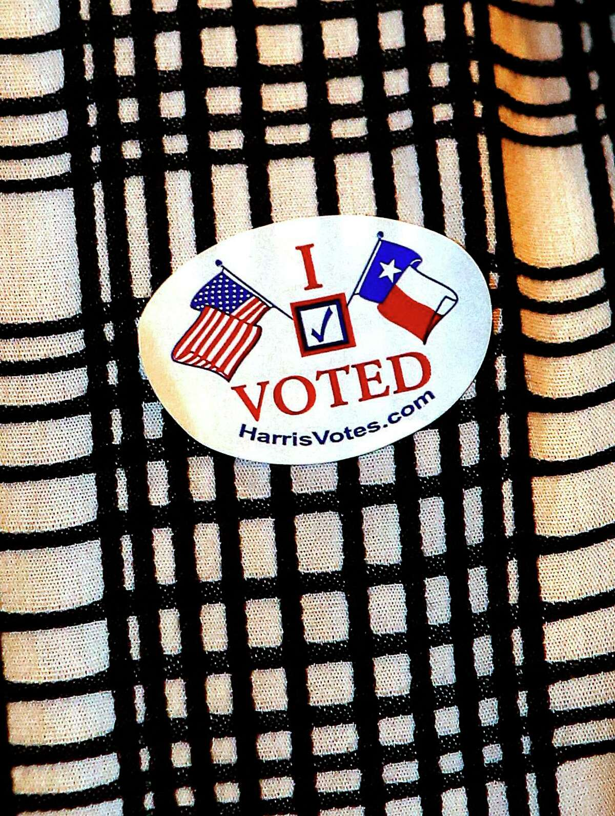 """The new """"I Voted"""" sticker from 2015, in Houston."""