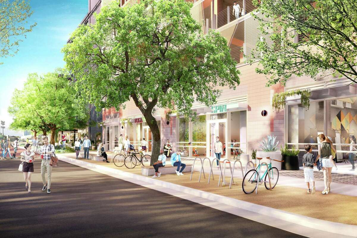 The planned Montrose Collective would sit north of Westheimer on either side of Grant.
