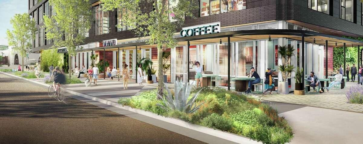 Rendering of Michael Hsu-designed Montrose Collective: Westheimer view near Katz's