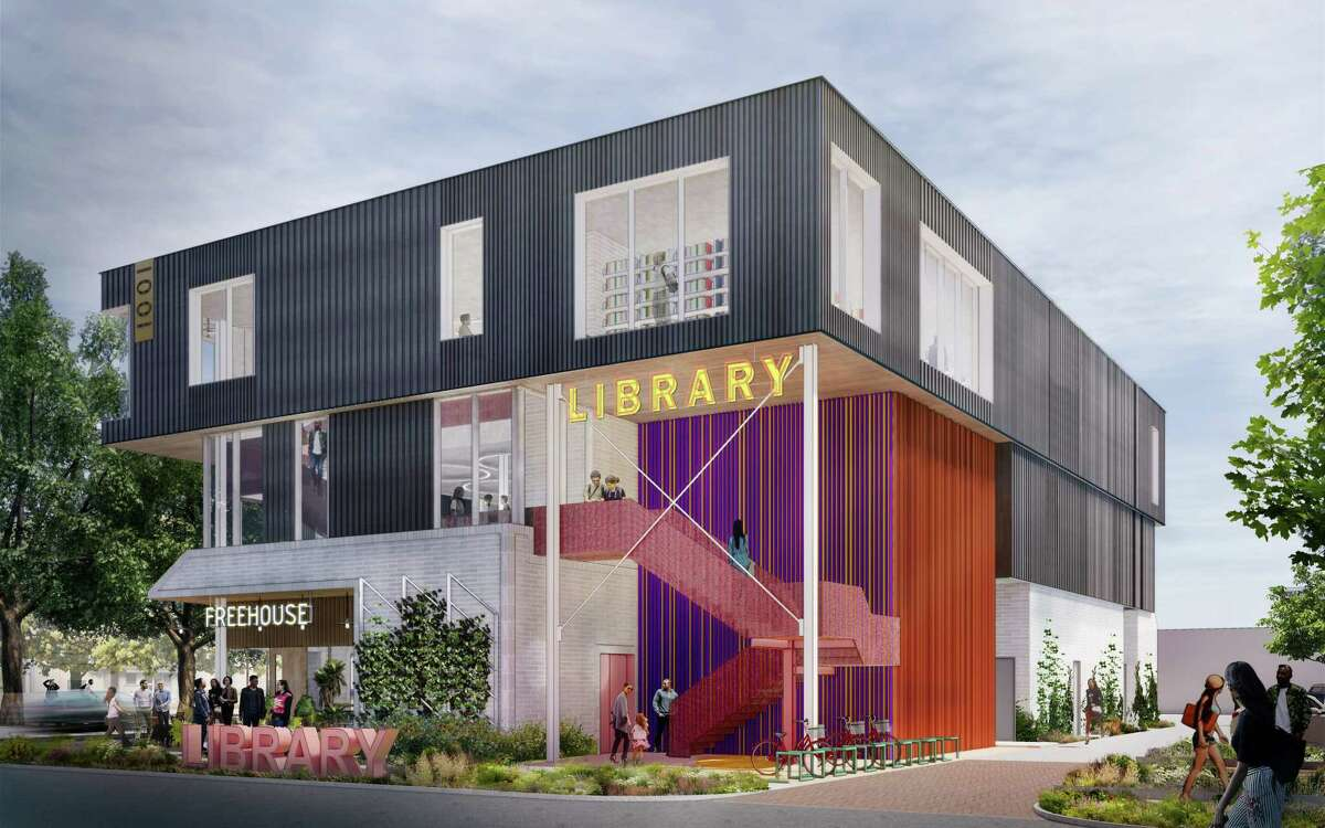 Rendering of Michael Hsu-designed Montrose Collective: Library building entrance off California
