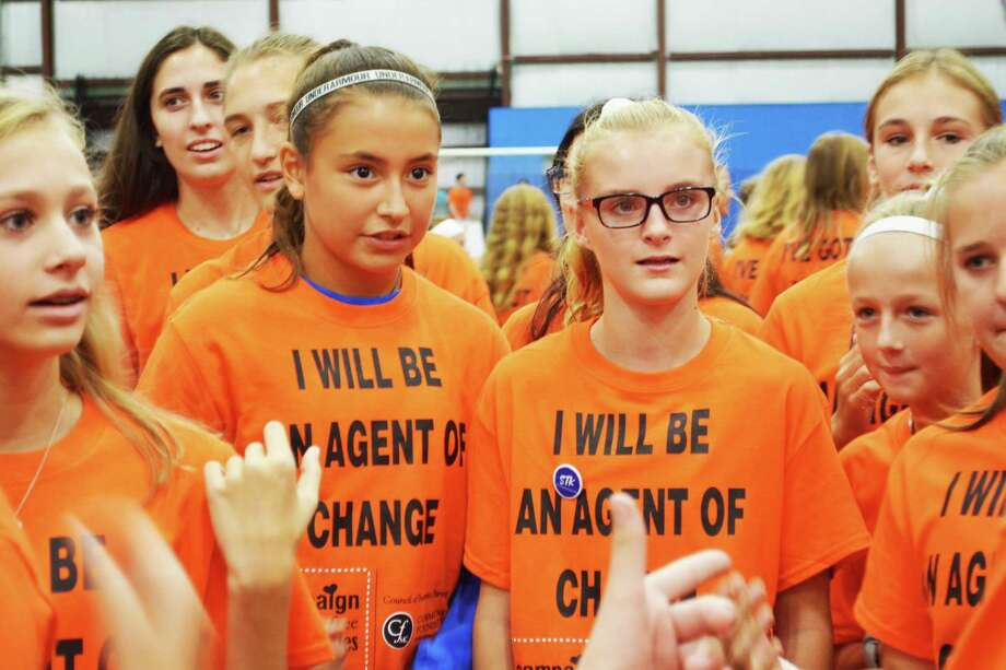 The Community Foundation of Middlesex County of Middletown and its Council of Business Partners hosted the sixth annual Rally For Bully-Free Communities Thursday at Sports on 66 on West High Street in East Hampton. The event coincides with National Bullying Prevention Month. Middle and high school students came from throughout Connecticut to participate in positive team-building activities and pledge to stand up to mean-spirited behavior. Photo: Cassandra Day / Hearst Connecticut Media