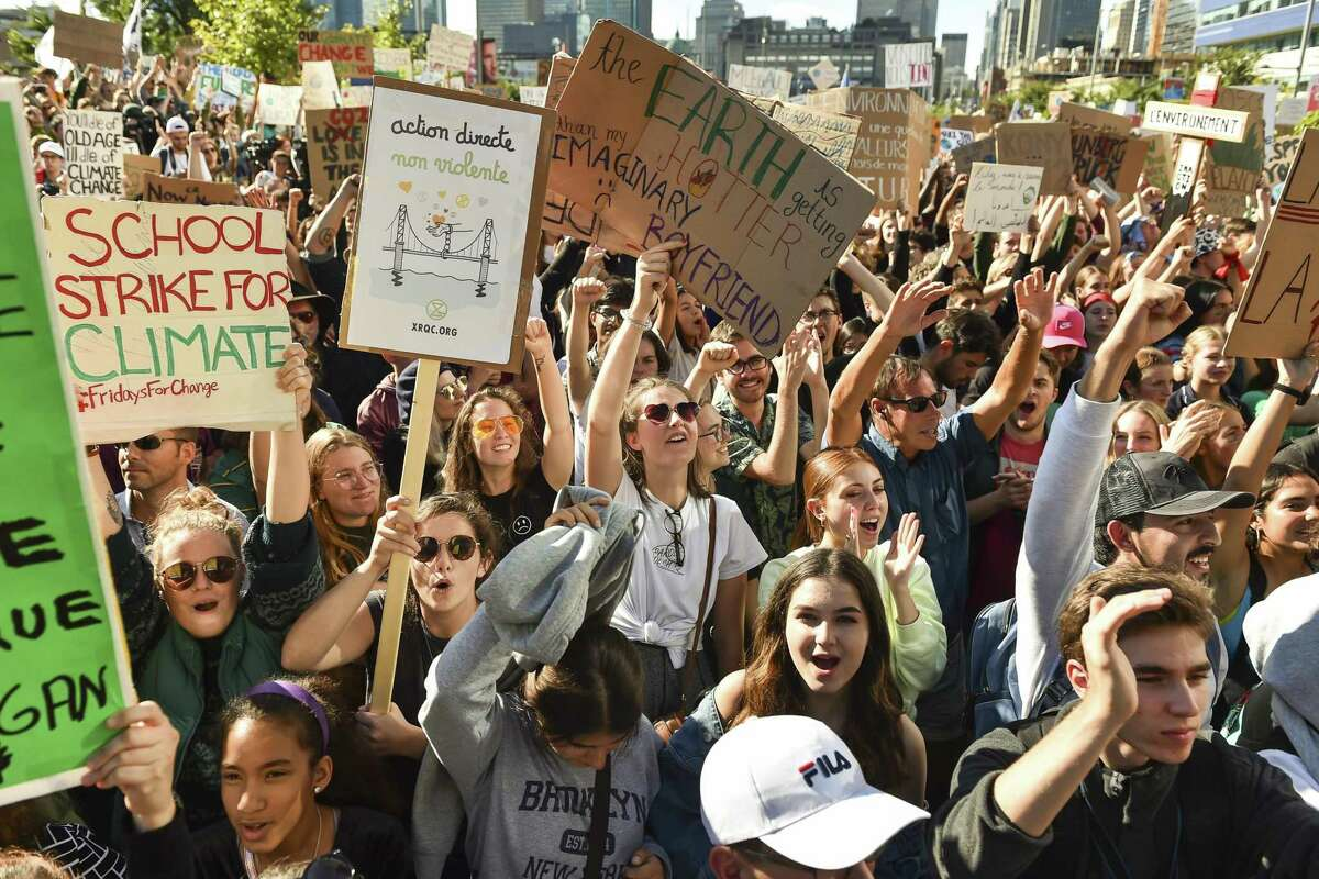 Young activists and their supporters rally for action on climate change on Sept. 27, in Montreal, Canada. The new generation of climate activists is not being heard