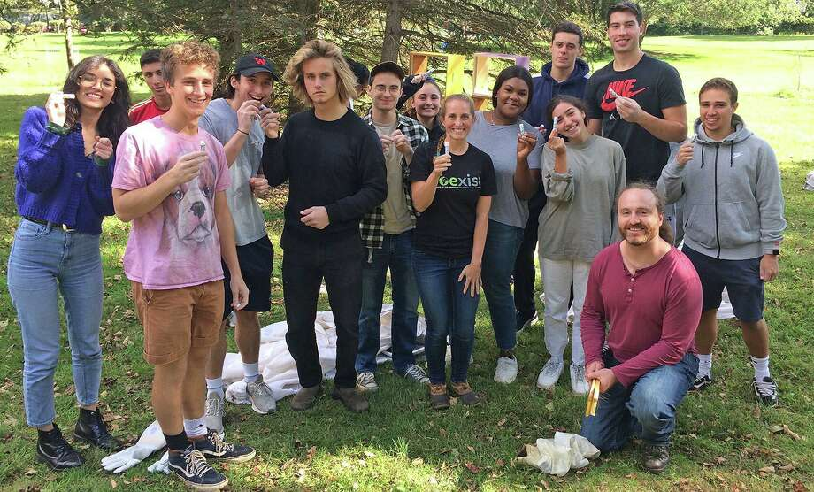 Wesleyan University students enjoyed a tour of a Norwich apiary, where they learned about the centrality of honeybees to the industrialized agricultural system. Photo: Photos Courtesy Rosemary Ostfeld