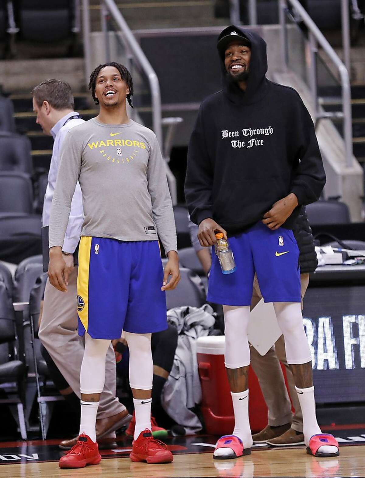 Golden State Warriors' Kevin Durant and Damion Lee during NBA Finals' practice at ScotiaBank Arena in Toronto, Ontario, Canada, on Saturday, June 1, 2019.