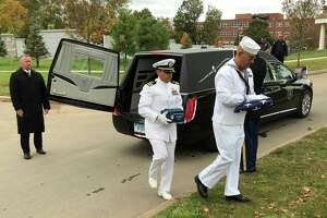 The Connecticut Department of Veterans Affairs and Connecticut Funeral Directors Association held a military funeral ceremony for four U.S. veterans' unclaimed cremated remains, who include veterans of the Spanish-American War, World War I and World War II.