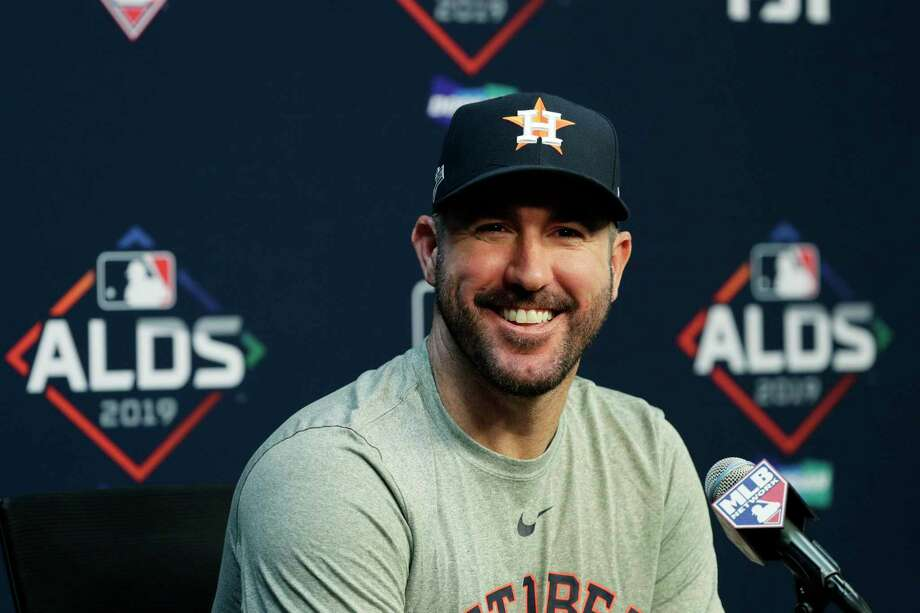 Houston Astros starting pitcher Justin Verlander takes part in a news conference, Thursday, Oct. 3, 2019, in Houston. The Astros will host the Tampa Bay Rays in the first game of an American League Division Series on Friday. Photo: Eric Gay, STF / Associated Press / Copyright 2019The Associated Press. All rights reserved