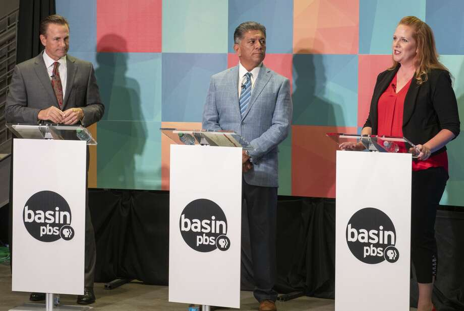 Midland mayoral candidates Patrick Payton, Jerry Morales and Jenny Cudd participate in a live debate 10/03/19 from the Basin PBS studio. Tim Fischer/Reporter-Telegram Photo: Tim Fischer/Midland Reporter-Telegram