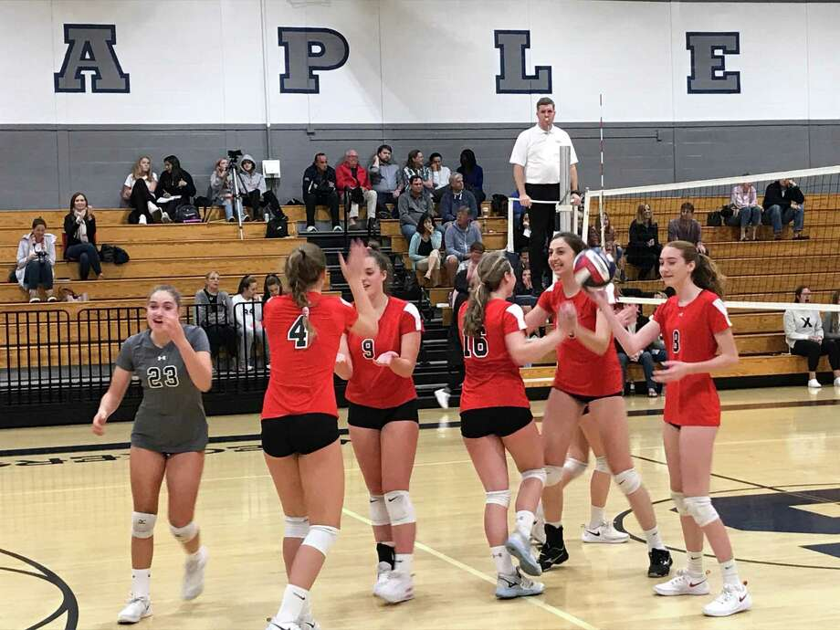 The Greenwich girls volleyball team improved its record to 9-1 with a 3-0 victory against Staples in an FCIAC match held in Westport on Thursday, October 3, 2019. Photo: David Fierro /Hearst Connecticut Media