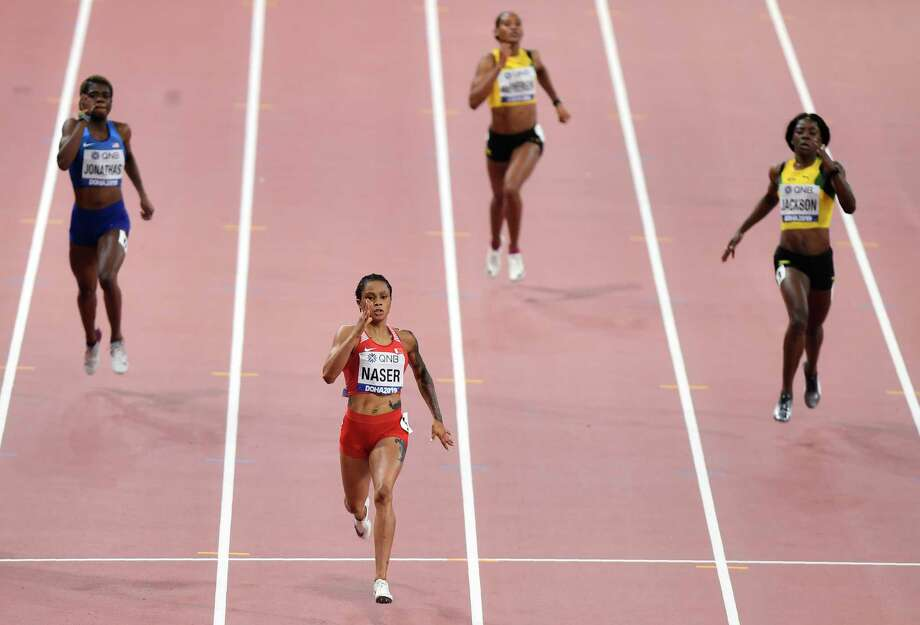 Salwa Eid Naser, of Bahrain, wins gold in the women's 400 meter final at the World Athletics Championships in Doha, Qatar, Thursday, Oct. 3, 2019. (AP Photo/Martin Meissner) Photo: Martin Meissner / Copyright 2019 The Associated Press. All rights reserved.