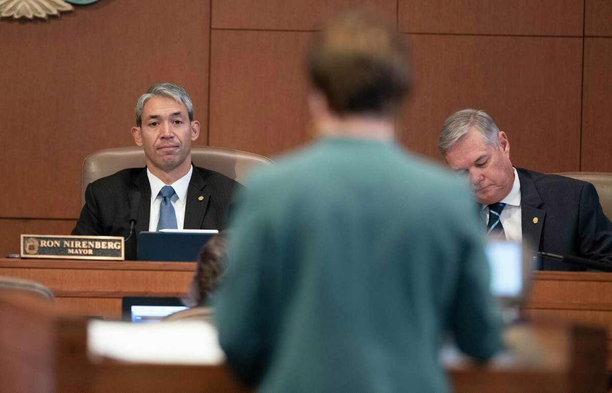 San Antonio Mayor Ron Nirenberg listens to Dr. Colleen Bridger, assistant city manager, talk about recommended revisions to the paid sick leave law on Thursday, Oct. 3, 2019. The San Antonio City Council voted 8-3 to pass the safe and sick leave.