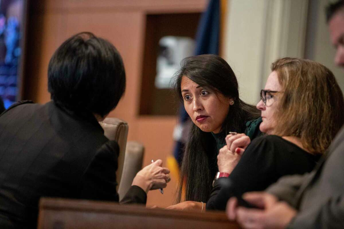 """District 4 Councilwoman Adriana Rocha Garcia, center, is shown at an October 2019 council meeting. She and Courage are two of the five council members who on the board of the housing trust's PFC. She also is concerned about Plummer's role. """"We need to be very careful that it doesn't look like one man is running the show."""""""