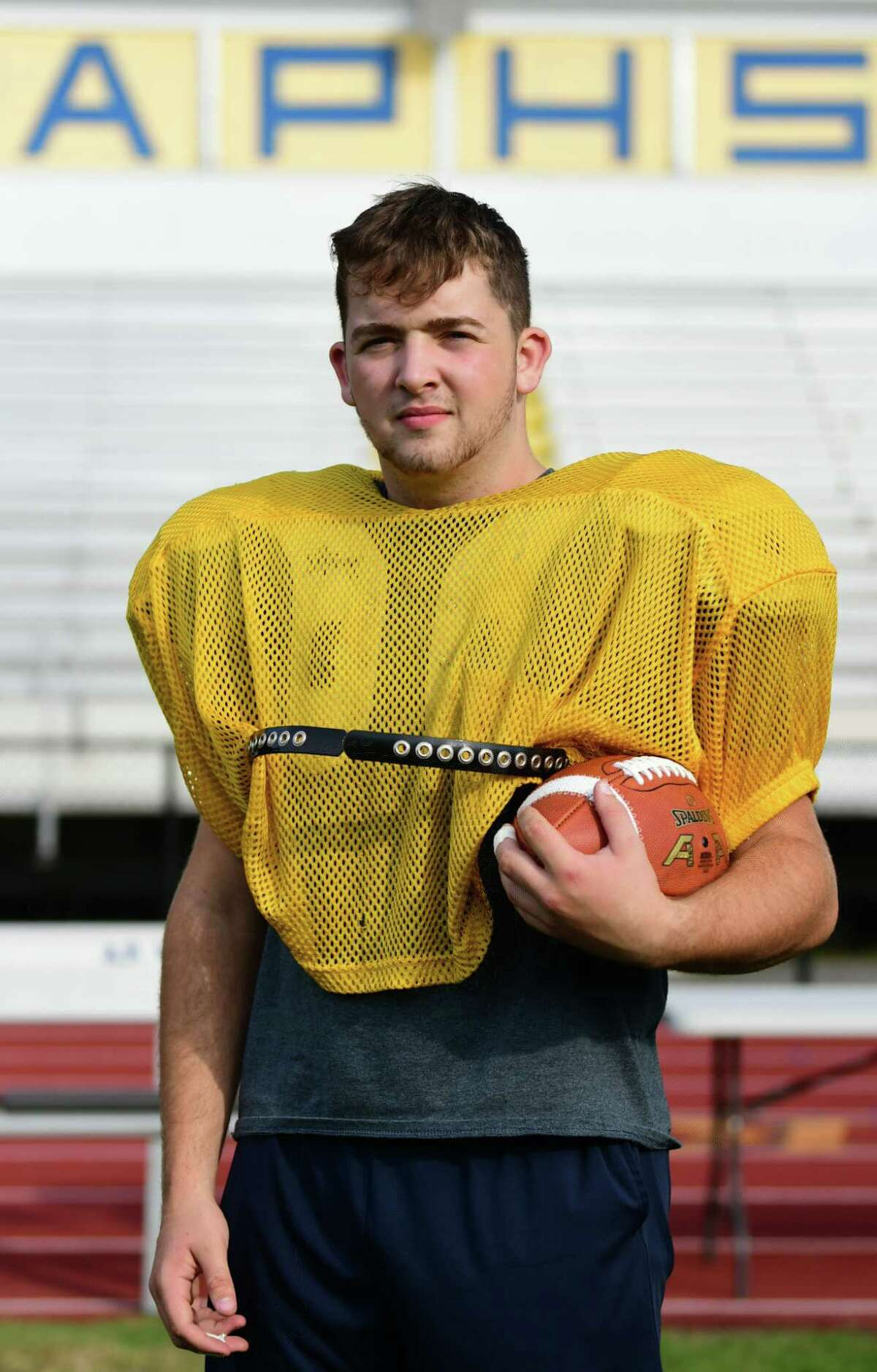 Offensive lineman for the Averill Park football team Ty Hausler on Tuesday Oct. 1, 2019 in Averill Park, N.Y. (Lori Van Buren/Times Union)