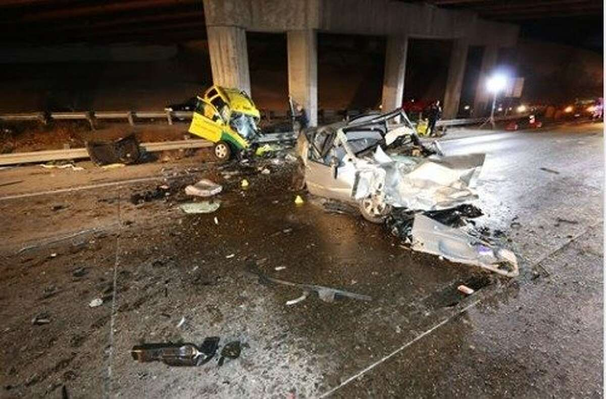 A wrong-way driver hit a taxi on Highway 101 in San Francisco, killing the driver and two passengers as well as herself at around 12:30 a.m. on Thursday, Oct. 3, 2019.