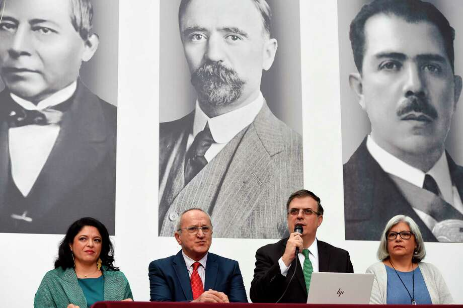 Foreign Secretary Marcelo Ebrard (2-R) delivers a press conference next to Lopez Obrador's chief negotiator for the North American Free Trade Agreement (NAFTA) Jesus Seade (2-L), appointed Economy Minister Graciela Marquez Colin (R) and appointed Culture Minister Alejandra Frausto Guerrero (L) in Mexico City on October 01, 2018. Photo: ALFREDO ESTRELLA /AFP /Getty Images / AFP or licensors