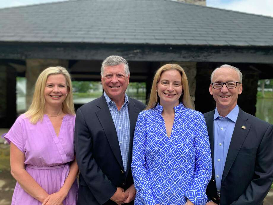 Board of Ed Chairman Tara Ochman, left, Dan Bumgardner, for Board of Finance, and Sarah Neumann and David Martin for Board of Selectmen are Darien Democrats' candidates for November 2019. Photo: Contributed