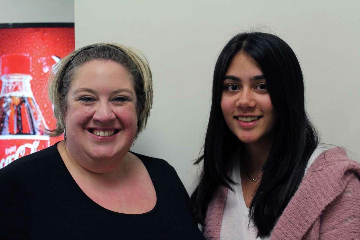 Volunteer Square Executive Director Julianne Alberty with the 2017 essay contest winner Reva Khan at Staples High School in Westport.