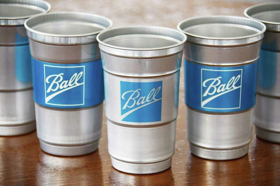 Ball's test line of aluminum cups designed to replace single-use plastic cups at stadiums, events and other venues. (PRNewswire photo via Ball Corp.)