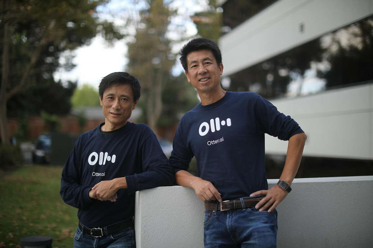 Yun Fu, left, and Sam Liang, founders of Otter.ai, a Silicon Valley start-up that offers a service that automatically transcribes speech, outside the company's offices in Los Altos, Calif., Sept. 27, 2019. By capturing vast quantities of human speech, neural network programs can be trained to recognize spoken language with accuracy rates that in the best circumstances approach 95%. (Jim Wilson/The New York Times)