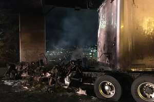 The Interstate 5 express lanes were closed Friday morning after a tractor-trailer crashed and caught fire near Mercer Street just before 6 a.m. The lanes were not expected to reopen during the morning commute.