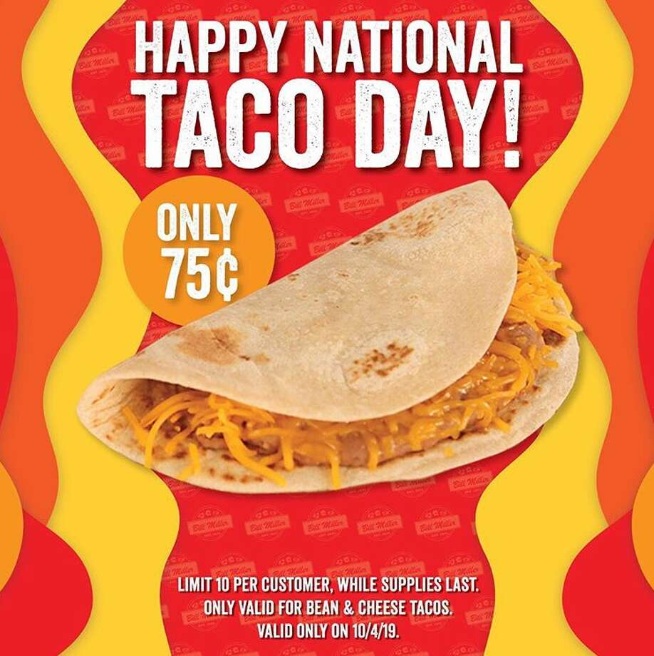 Is there anything better than a day in which establishments give out free tacos or have specials on tacos? While you think about that, you should know that Oct. 4 is National Taco Day. Photo: Bill Miller Bar-B-Que