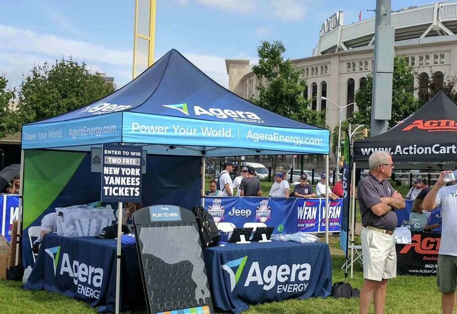 An Agera Energy display outside Yankee Stadium in New York City in 2017. On Oct. 4, 2019, the Briarcliff, N.Y.-based company filed for bankruptcy protection, with Constellation to take over its customer base. (File photo via Agera Energy)