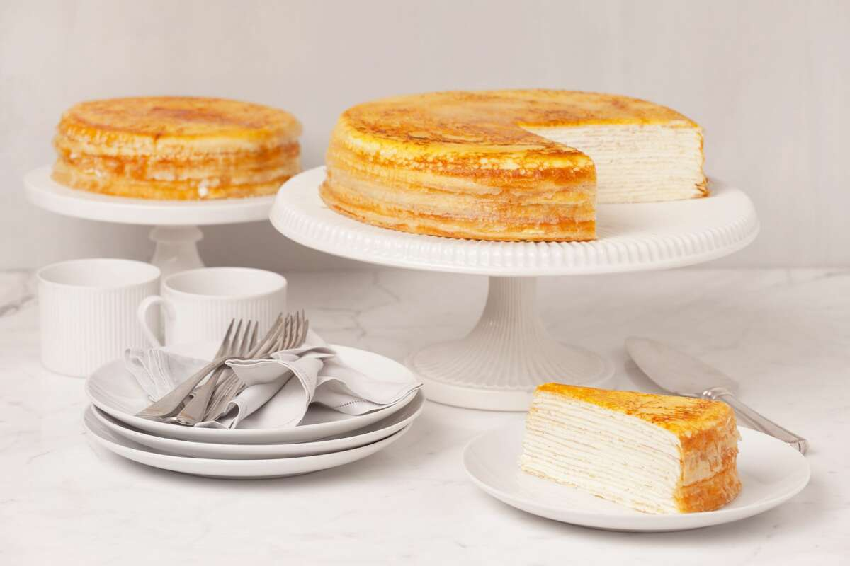 New York City'sLady M Confections is bringing its renowned crepes cakes back to Houston. Each decadent dessert features no less than 20 paper-thin crepes and fluffy pastry cream. Pictured: The signature mille crepes at Lady M.