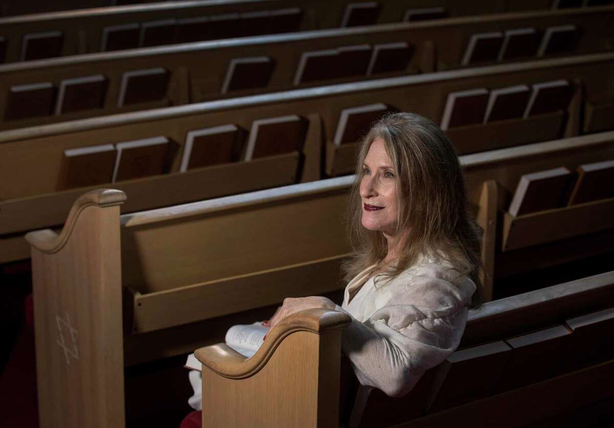 Mirl Cohen poses for a portrait in the sanctuary at Brith Shalom on Wednesday, Oct. 2, 2019, in Houston.